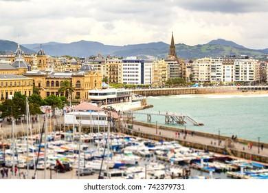 View of the Concha bay and marina of San Sebastian, Basque country, Spain.
