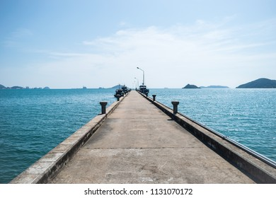 The view of concrete jetty, The port which connects between land and sea at  Sattahip, Chonburi province, Thailand.