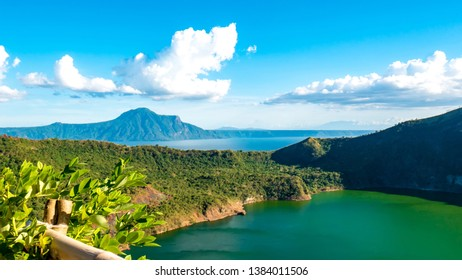 View of cones of Taal Volcano and the Lake Taal on a sunny day in Tagaytay, Philippines.