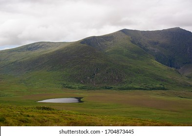 View from the Conor pass road in Ireland, Dingle Peninsula, hart shape lake