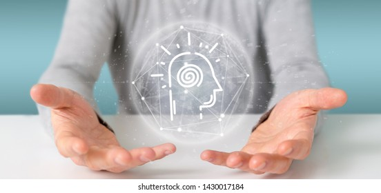 View of a Conscious head icon on a color background