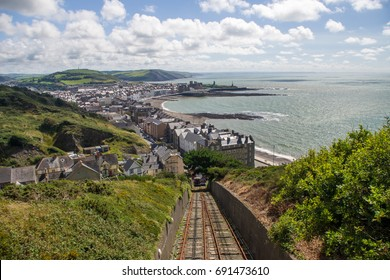 View from the Constitution Hill in Aberystwyth on the coast of the Irish Sea, Wales