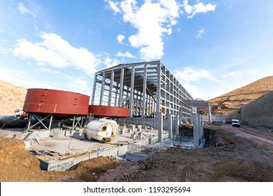 View of the construction site for flotation chemical plant. Froth flotation is a process for selectively separating hydrophobic materials from hydrophilic.