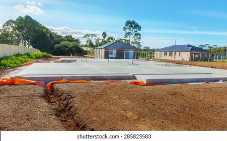 view of construction site and house foundation in preparation process