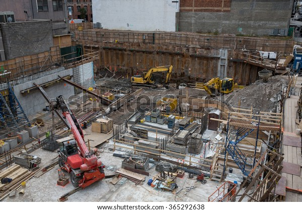 View of a construction site in New York City, USA.