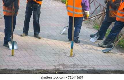 view of construction workers ready to work outdoors