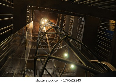 View of the constructive structure of the astronomical clock tower elevator, January 14, 2013, Prague, Czech Republic.