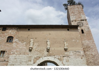View of Consular gate in the town of spello ( Umbria Italy )