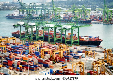 View of a container terminal at the Port of Singapore. Cargo ships docked in harbor. Ship-to-shore (STS) gantry cranes loading and unloading vessels at shipping yard.