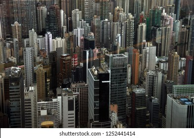 View of contemporary towers of modern metropolis in daylight, Hong Kong. Highrise buildings of modern?metropolis. population density problem