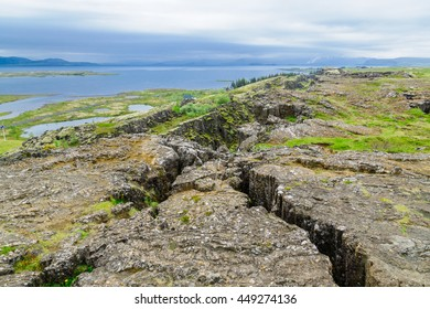 View of the continental drift in Thingvellir National Park, Iceland