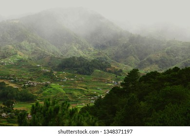 View of the conventional agricultural farms and villages in Buguias, Benguet, Philippines