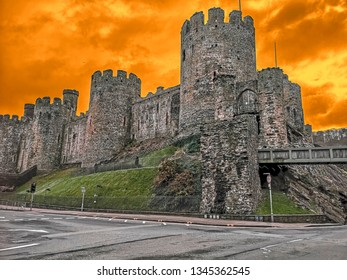 View of Conwy Castle which is a medieval fortification in Conwy, on the north coast of Wales. It was built by Edward between 1283 and 1289.