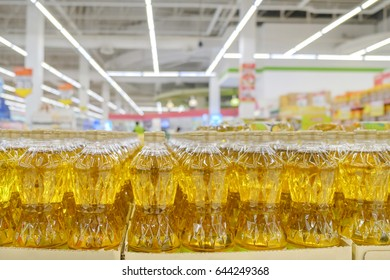 View of cooking oil on shelf in the store. Shallow depth of field.