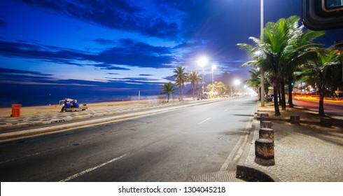 View of Copacabana beach at night, Rio de Janeiro, Brazil
