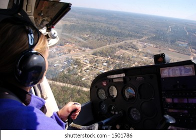 The view from the copilot seat of a small airplane