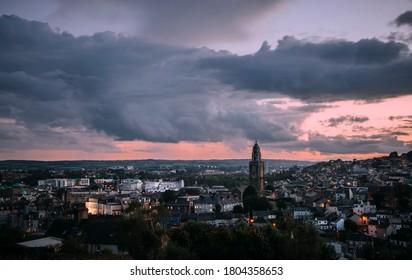 A View of Cork City, Ireland at Night.