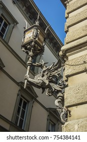 View of a corner street lamp in Florence, Italy, Europe