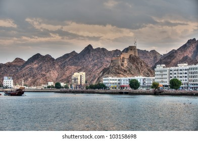 View or the Corniche and Mutrah fort in Muscat, Oman