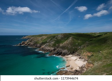 View of the Cornish Coast from South West Coast Path near St. Levan, Cornwall.  St Levan is near the Minack Theatre in Porthcurno.