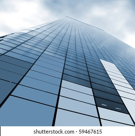 view of a corporate skyscraper from the bottom
