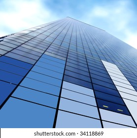 view of a corporate skyscraper from the botton