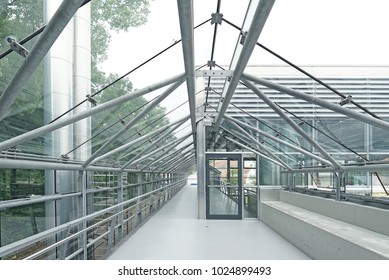 View of corridor suspended on steel structure