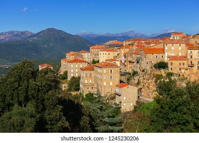 View of the Corsican city Sartene in autumn, France