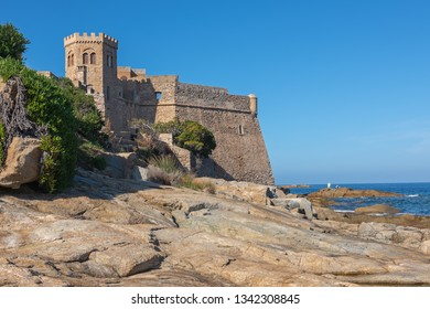 View of the Corsican fortress in Algajola village, France