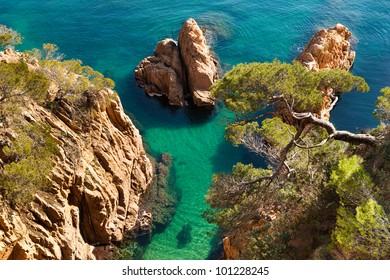"View of Costa Brava from ""Cami de Ronda"" a small pathway near the sea, Girona."