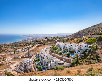 View of Costa del Sol, Malaga from the Benalmadena viewpoint. Fuengirola in the background. Real estate developement concept.