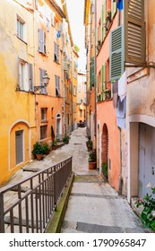 view of cosy street in old town of Nice, France, french riviera