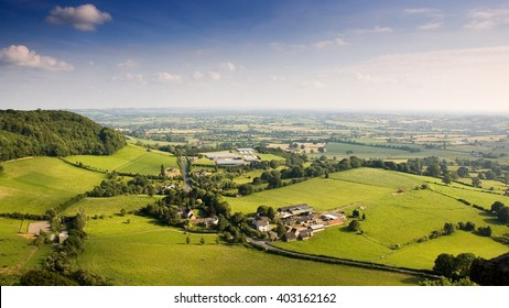The view of the Cotswold Hills scarp and Severn Valley from Frochester Hill near Stroud.