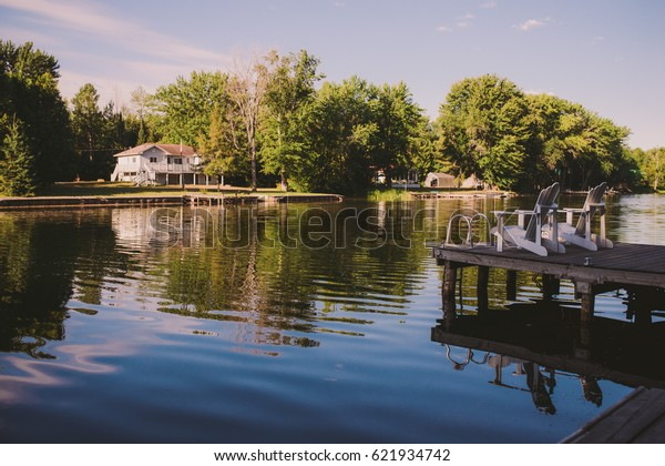 View of cottages on a lake