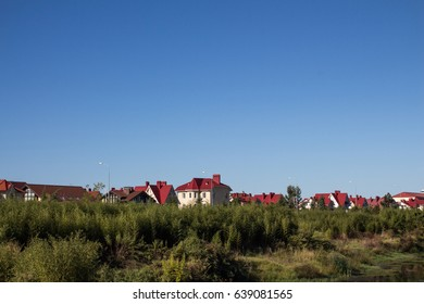 A view of the cottages with red roofs in Sochi Krasnodar Territory, Russia
