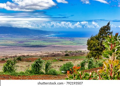 View from Up Country on Maui, Hawaii looking towards Kahului and the West Maui Mountains