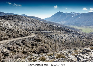View of country road amidst uncultivated region Crete Greece Europe