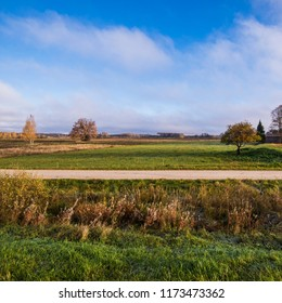 A view of the country road on a sunny day, Latvia