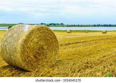 View of countryside and haystacks near Grand River, Prince Edward Island, Canada