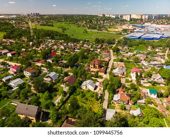 View of countryside with houses from the top, Russia.