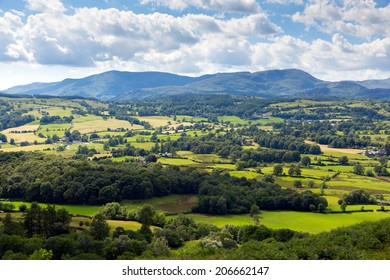 View of countryside in the Lake District National Park England uk on a beautiful sunny summer day near Hawkshead popular tourist village known for William Wordsworth and Beatrix Potter
