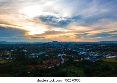 View of countryside with nice sky background, from eastern Thailand.