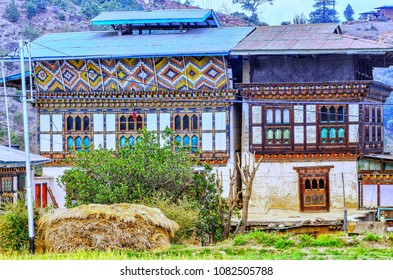 View of countryside village and rice field at Punakha , Bhutan