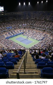 View of court from top of Arthur Ashe Stadium