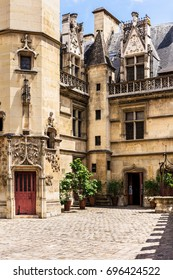 View of the courtyard of the Cluny museum (Musee de Cluny) or National Museum of the Middle Ages (Musee national du Moyen Age) in the Hotel de Cluny. Paris, France