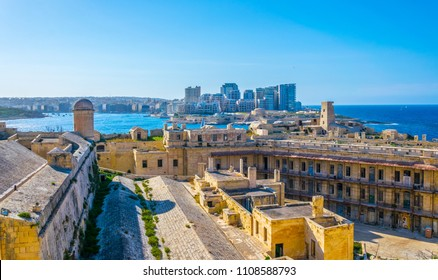 View of a courtyard of the Fort St. Elmo in Valletta, Malta