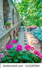 View of courtyard of historical Koza Han(Silk Bazaar) in Bursa,Turkey. - Shutterstock ID 1115287865