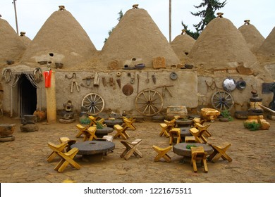 A view from the courtyard of traditional conic Harran houses in Harran Sanliurfa.