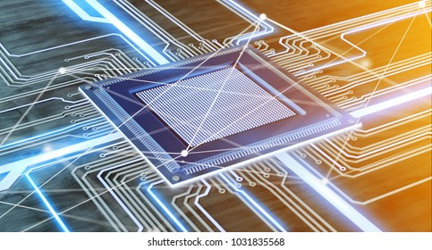 View of a CPU processor chip and network connection on a circuit board - 3d render