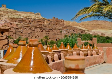 View of craft stalls with the Ait Ben Haddou Kasbah in Morocco, Africa in the background of the picture. Was built in 11th. UNESCO World Heritage Site.